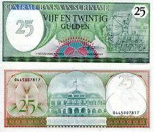 SURINAME 25 Gulden Banknote World Paper Money Currency Pick p127b 1985 Bill Note