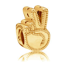 New Genuine PANDORA Symbol of Peace Charm 14K Gold Vermeil 797215