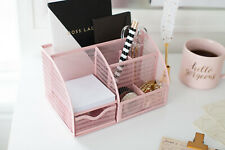 Blu Monaco Unique Metal Pink Desk Organizer with Drawer