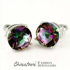 8mm Round Cut Rainbow Mystic Topaz Silver Jewelry Stud Pierced Earrings