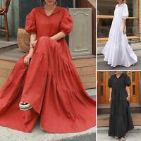 ZANZEA Damen Layered Dress Kurzarm Puffärmel Shirtkleid Hemdskleid Strandkleid