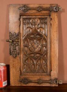 Antique French Gothic Solid Oak Wood Cabinet Door with Hinges & Latch
