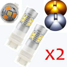 Lot2 High Power 3157 Dual-Color Switchback 28-SMD LED Car Turn Signal Bulbs