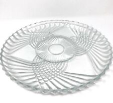 "Vintage Anchor Hocking Clear Glass Sectional Serving Platter Tray 12"" Round"