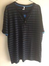 Mens Size XL Striped Cotton Button TShirt Top - BNWOT