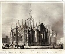 Milano: Duomo. Lombardo-Veneto. Audot.Acciaio. Stampa Antica + Passepartout.1840