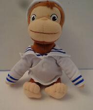 "8"" Plush Curious George Sailor Bean Bag Stuffed Animal Monkey Navy No Scarf"