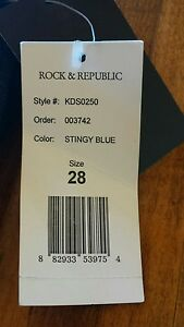 ROCK & REPUBLIC DARK BLUE 28 STRETCH MADE IN USA LOS ANGELES HOLLYWOOD VIP JEANS
