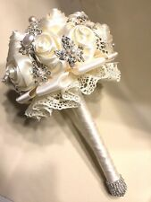 Bridal Wedding flower BOUQUET ivory satin roses Brooch rhinestones pearls lace