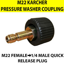 "KARCHER type M22 Female Screw Thread to Quick Release 1/4"" Male Coupling jetwash"