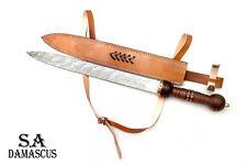 Gladious Sword Custom Handmade Damascus Steel Sword ! Hunting Sword with Leather