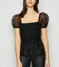 Influence Top Black Organza Shirred Puff Sleeve Top Size 8 & 12 EM92 NEW