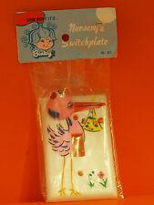 VINTAGE BINKY - BABY / NURSERY SWITCH PLATE - PINK STORK   P