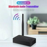 Bluetooth 5.0 Audio Transmitter 3.5mm AUX Coaxial Optical Jack Fiber Ad V2K4