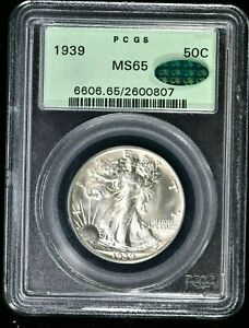 1939 50C Walking Liberty Half Dollar PCGS MS65 OGH, CAC (0807) 99c NO RESERVE