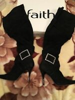 Faith Real Suede Leather Black Boots High Heel Over The Knee Size UK 7 EU 40