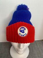 VINTAGE 1970's New York Giants NFL Football Winter Pom Beanie Knit Hat Cap
