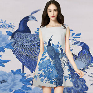 Peacock Chinese Super quality Cheongsam Dress Fashion Jacquard Damask Fabrics