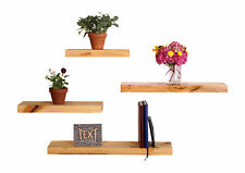 "5.25"" Deep Clean Edge Pine Floating Shelves (Set of 4) (Natural)"