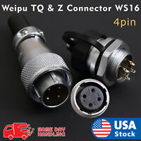 Weipu TQ & Z Aviation Plug 4-Pin 16mm Ws16 Metal Male Female Panel Connector Ws