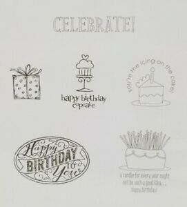 Stampin Up Best of Birthdays rubber cling stamps set of 6 greetings celebrate