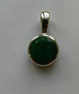 Solid 925 Sterling Silver Emerald Gemstone Pendant Necklace Jewelry #2725