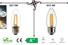 LED CandleLight Bulb E27 ES C35 2W 4W Light Lamp,Retro Filament COB White