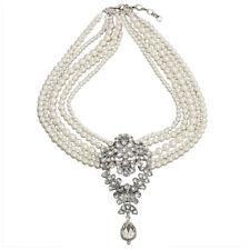 BT Multi-Pearls Crystal Pendant Necklace Fashion Chunky Statement Choker Charm