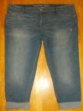 Women's 26W Ava & Viv Boyfriend Crop Power Stretch Distressed Jeans Capri 26 W