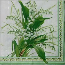 LILIES OF THE VALLEY TWO(2) single LUNCH size paper napkins for decoupage 3-ply