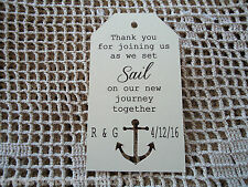 10 Kraft Cream Gift Tags Wedding Favour Bomboniere Personalised Anchor Nautical