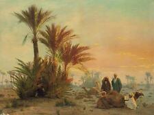 Arab man desert camel scenery painting canvas print art decoration palm tree
