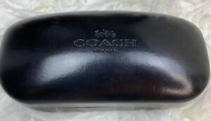 Coach New York Black Hard Clamshell Eye Glass Case Eyeglass Holder Sun Glasses