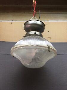 Vtg Industrial Holophane Ceiling Light Fixture Factory Work Old Chrome 574-20E