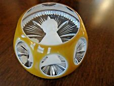 1973 Cristalleries D' Albret JENNY LIND Sulphide Paperweight Cut Double OVERLAY