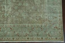Pre-1900 Antique Muted Vegetable Dye Floral Area Rug Distressed Low Pile 9'x12'