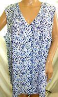 Emaline Women Plus Size 1x 3x White Blue Floral Swing Tank Top Shirt Blouse Cami