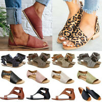 Women Ladies Flat Loose Sandals Summer Beach Casual Peep Toe Fitness Flop Shoes