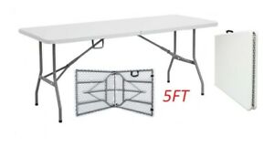 5FT HEAVY DUTY 1.6 METER FOLDING TABLE CATERING CAMPING TRESTLE BBQ PICNIC PARTY
