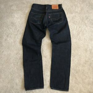 Levis 501 Selvedge Dark Wash Button Fly Made In USA Jeans 30x32