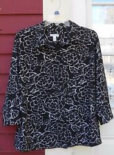 CRAFT & BARROW Stretch Black/White Crinkle 3/4 Sleeve Button Shirt Large 46 EUC
