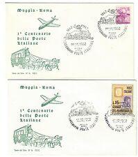ITALIA 1962 1° centenario delle poste muggia roma 2 fdc 15 lire cod.bu.061