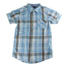 Tommy Hilfiger Boys Blue Plaid Button-Up Short Sleeve Shirt T375110, Size 5