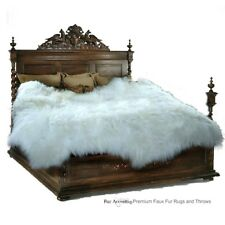 Plush Shag Faux Fur Sheepskin Area Rug - Random Shape - Thick White Shaggy Pelt