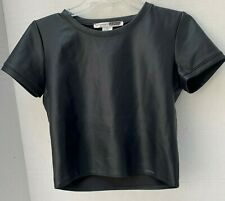 Necessary Objects Black Vegan Pleather Short Sleeve Womens Crop Top Shirt XS