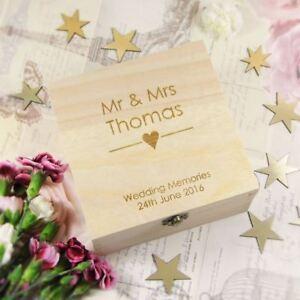 Personalised Wedding Memory Box Engraved Heart Wooden Keepsake Box, Wedding Gift