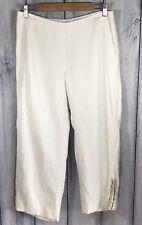 White House Black Market NWOT Womens Capris Linen Blend Pants 6 White Jewel Hem