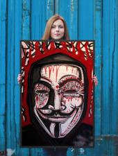 NEO Street Art Graffiti Print Urban Anonymous Poster Wall V Vendetta Dada Red