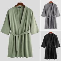 Men's Long Sleeve Cotton Linen Kimono Bathrobe Soft Dressing Gown Sleepwear Tops