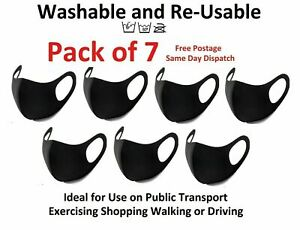 7x Face Mask Protective Covering Washable Reusable Black Adult Unisex Pack Of 7